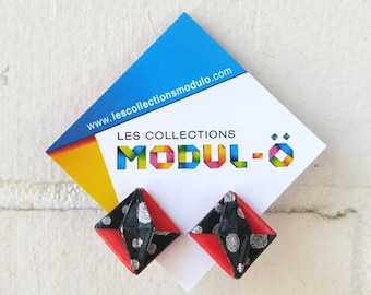 Red and black | Paper Jewelry | Post earrings | Modular Origami | Origami by Modulo