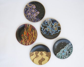 Wall plate set Elements - Decorative plates - Hand painted plates - Wall hangings - Fire, space, water, air, earth