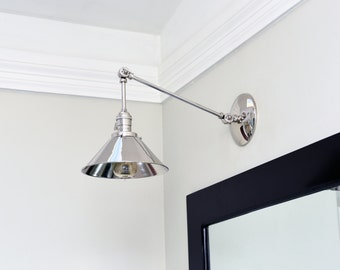 Chrome Polished Nickel Articulating Boom Wall Sconce Metal Shade Vanity Mid Century Industrial Modern Art Light
