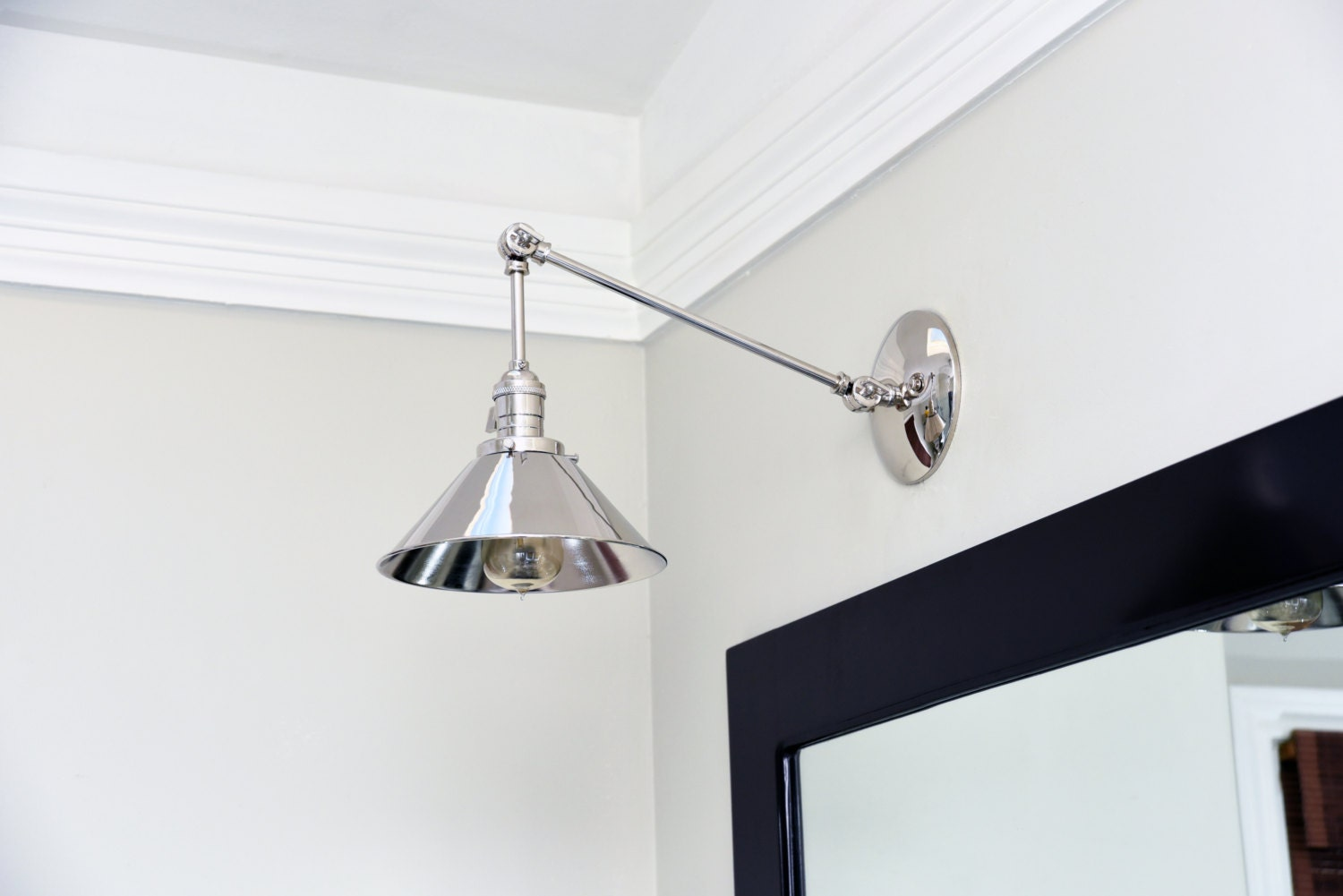 Polished Nickel Articulating Boom Wall Sconce Metal Shade