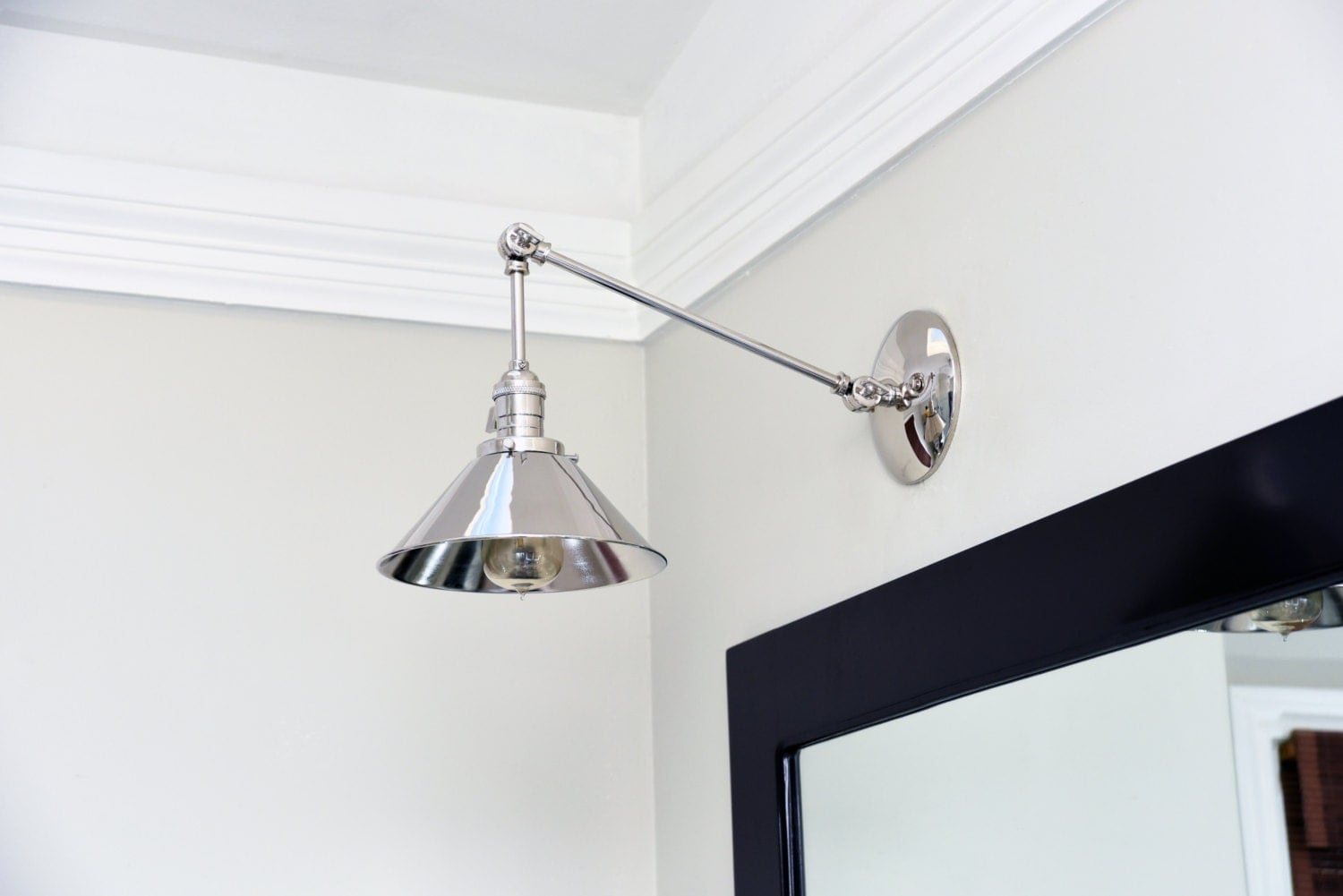 Modern Ridged Shade Bath Sconce 2 Light: Polished Nickel Articulating Boom Wall Sconce Metal Shade