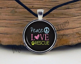 Peace Love Rescue Adjustable Black Cord Glass Picture Pendant Necklace Dog Cat Necklace Rescue Jewelry Black Pink Yellow Peace Paw
