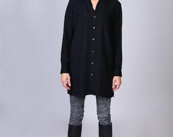 Women long shirt with rajastani black print applique on the back