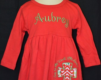 Personalized Christmas Applique Dress