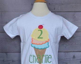 Personalized Birthday Ice Cream Cone Applique Shirt or Onesie Girl or Boy