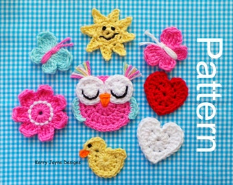 MIXED APPLIQUE CROCHET Pattern Crochet Butterfly pattern Owl crochet pattern  Heart crochet pattern Sun pattern Crochet Flower pattern