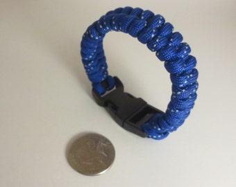 Blue Reflective 550 Paracord Survival Bracelet, Blue Paracord Bracelet, Boy Scout Safety Paracord Bracelet Gift, Military Paracord Bracelet