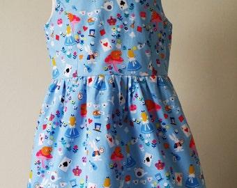 Alice in wonderland dress, alice dress, girls blue outfit, kids clothing, party wear, uk