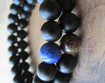 Earth and Sky Bracelet Set, Lapis Lazuli, Bronzite and Matte Black Onyx, Stacking Bracelets, Men's Bracelet, Beaded Bracelets, Mala Bracelet
