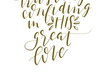 Hand Lettered Trusting Confiding print