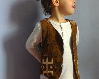 Ethnic vest child, cotton organic bogolan