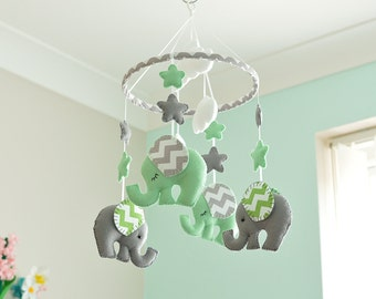 Mint Green Mobile, Grey Elephant Mobile - Baby Mobile - Nursery Mobile - Made To Order