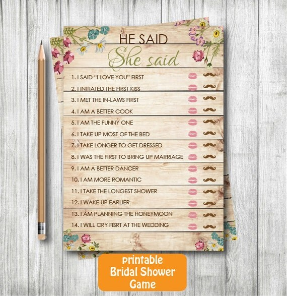 he said she said bridal shower game template - rustic printable bridal shower he said she saidwood bridal
