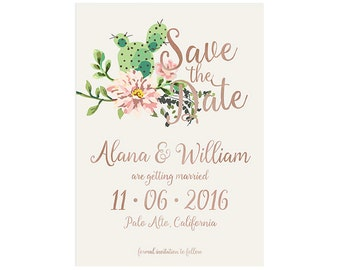 Cactus save the date | succulent wedding printable | print ready (DP122)