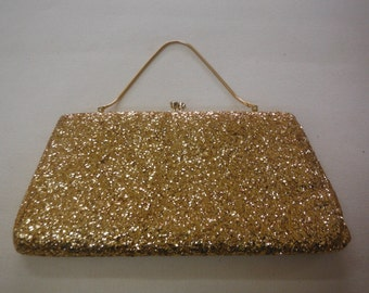 Gold Glitter Evening Bag, Vintage 1960's.