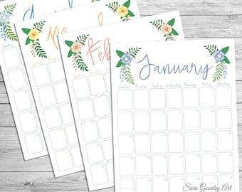 Floral Watercolor Birthday Calendar Spiral Binding Perpetual