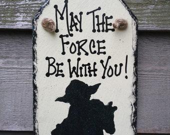 Star Wars Yoda Silhouette white Wall-hanging Slate