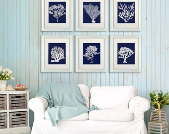 Coastal Wall art - Set of 6 white corals on blue art print - nautical print nautical art beach decor shore house art coastal bathroom