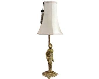 French Art Deco Hollywood Regency Polished Bronze Geisha Table Lamp Pat Tested Brand New Shade London / Wimbledon