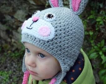 Handmade Bunny hat, grey Bunny hat, Rabbit hat, Girls hat, Kids hat, Animal hat, Character hat