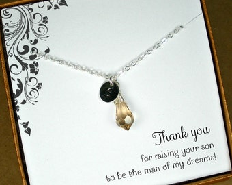 Personalized Necklace, Mother of the Groom Gift from Bride, Mother of the Bride Gift from Groom, Mothers Jewelry, Wedding Party Gifts Cards