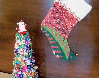 Vintage Red Barkcloth Christmas Stocking with Red Button