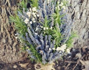 Rustic Romance Wedding Bouquet- Dried Lavender Bouquet, Fresh Rosemary Bouquet, Twine, Burlap, Lace