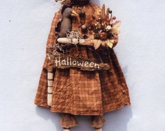 Primitive PATTERN Halloween Pumpkin Girl