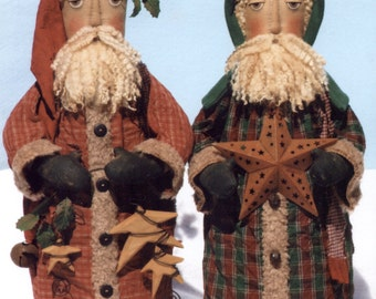 Primitive PATTERN Folk Art Santas