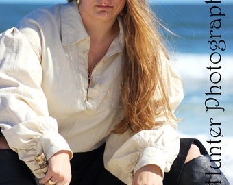 Women's Poet Shirt - Linen - Natural, White or Black - Medieval, Pirate, Rennaissance, Wench, LARP, SCA, Reenactor, Cosplay