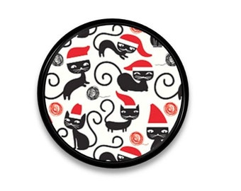 Kitchy Christmas Knob - Black Kitty Cat in a Santa Clause Hat - Holiday, Red, White, Craft, Decorative, Dresser, Cabinet Drawer Pull- 815R9