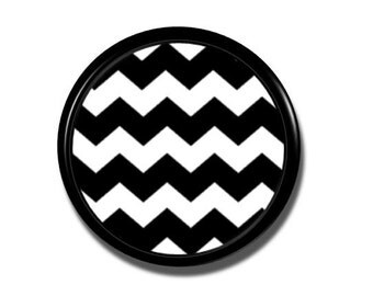 Black and White Chevron Dresser Knob - Stripe Drawer Pull, Cabinet Door, Zig Zag, Contrast - Handmade, Handcrafted 360 - 1214PICT
