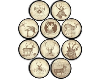 Rustic Deer Knobs - Distressed, Mancave, Garage, Buck, Hunting, Cabin, Lodge, Rec Room, Drawer Pulls for Men, Desk, Dresser, Cabinet - 815X9