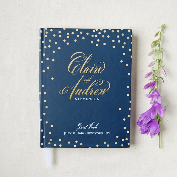 Wedding Guest Book #31 - Hardcover - Wedding Guestbook, Custom Guest Book, Personalized Guest Book - Navy - Gold Calligraphy - Polka Dots