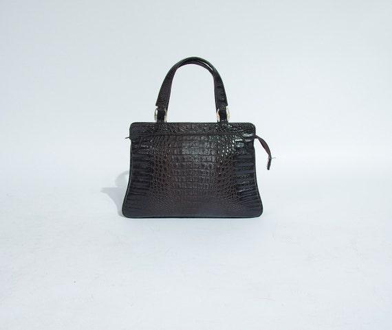 SALE! 80s Crocodile embossed street style eco vegan leather top handle bag