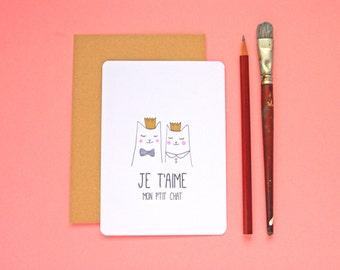 Carte postale Je t'aime Chat - Frais de port offerts! St Valentin / Mariage