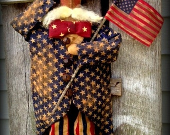 "Primitive Folk Art Americana Patriotic Standing 26""  Uncle Sam Doll--USA, Memorial Day, Veterans Day, July 4th, Hafair Team, Faap"