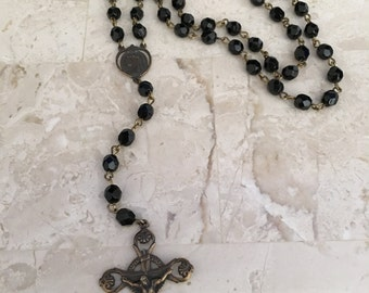 Black and Bronze Vintage Rosary Chain