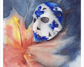 Mike Palmateer Goalie Mask Painting , Toronto Maple Leafs - Archival Stretched Canvas Print