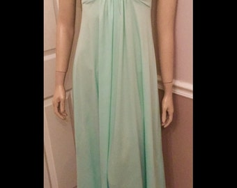 Vintage 70's Polyester Prom Dress /JCPenneys Ruffle maxi dress / size Small