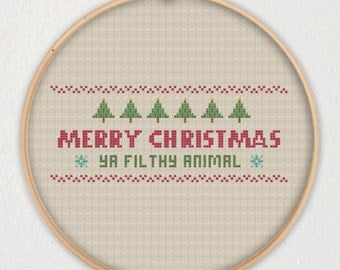 Merry Christmas Ya Filthy Animal! Christmas Cross Stitch Pattern
