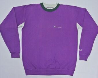 Champion Sweatshirt Man Large Vintage Champion Sweater Purple Pullover Vintage Champion Jumper