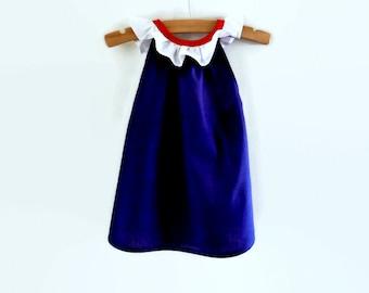 Girls red white and blue dress - girls summer dress - toddler dress - infant dress - patriotic dress - girls dress with ruffles - navy dress