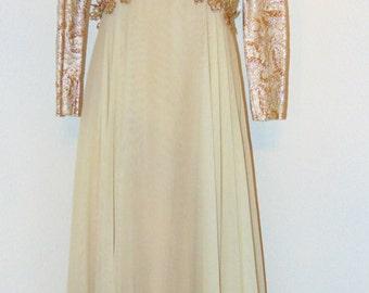 Vintage 1970 Long Gold Design Chiffon formal dress