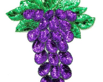 "Grapes Applique, Sequin Beaded, 12.5"" x 9""   -B155-0393"