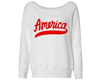 Classic America Script Wideneck Sweater, Fourth Of July, Independence Day