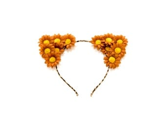 Autumn Brown Cat Ear Headband, Floral Cat Ears, Kitty Ears Headband, Flower Headband, Cat Costume, Halloween Costume, Rave Costume