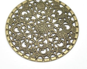 """Filigree Embellishments Findings Round Antique Bronze Flower Hollow Pattern - 1 5/8"""" Dia - Pack Of 12"""