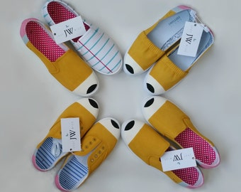 Classic Yellow No. 2 Pencil Shoes and Notebook Paper Shoes. Hand painted canvas shoes for teachers and kids to wear back to school.