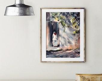 ORIGINAL Watercolor Painting, White Figure, On a Move, Watercolour Art